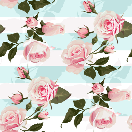 Pink roses on a mint green stripes vector seamless pattern Flowered background of botany illustrations Illustration