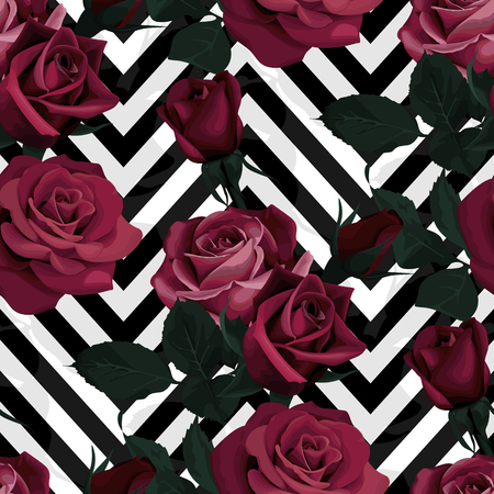 Deep red roses vector seamless pattern. Dark flowers on black and white chevron background, flowered textures