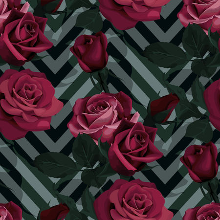 Deep red roses vector seamless pattern. Dark flowers on chevron background, flowered textures