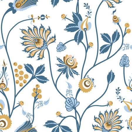 Scandinavian Floral vector seamless pattern with fantasy texture with flowers on a white backgrounds Çizim