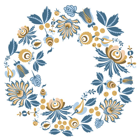 Scandinavian Floral wreath background frame with flowers and leaves for greeting card, posters, banners, and other project Çizim