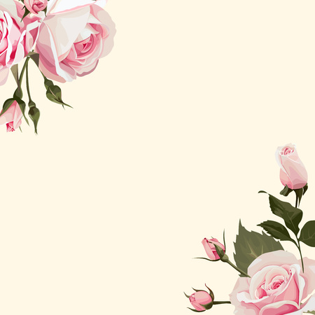 Vector Floral background with pink roses on the conner