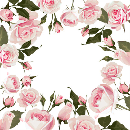 Vector floral frame with roses. Flowered background with pink flowers for wedding day or st. valentines days Vettoriali