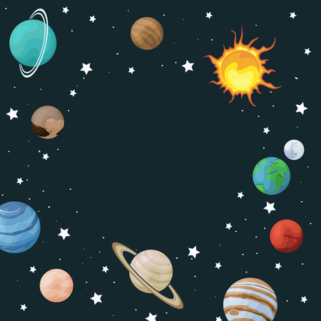 Vector clip art set of solar system. Circle frame with planet on space background. Universe texture for greeting cards and invitation Çizim