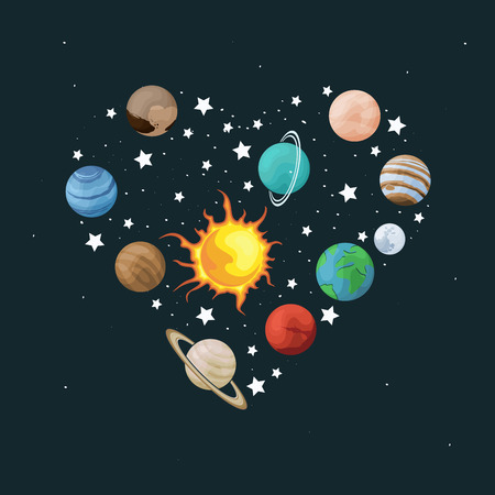 Vector clip art set of solar system. Heart shape with planet on space background. Universe texture for greeting cards and invitations