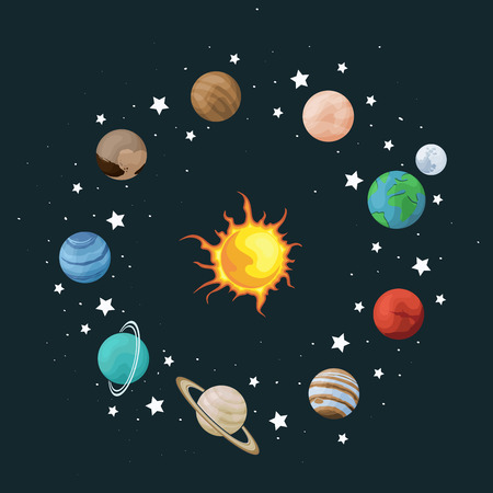 Vector clip art set of solar system. Wreath with planet on space background. Universe texture for greeting cards and invitation