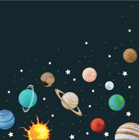 Vector clip art set of solar system. Square banner with planet on space background. Universe texture for greeting cards and invitations Çizim