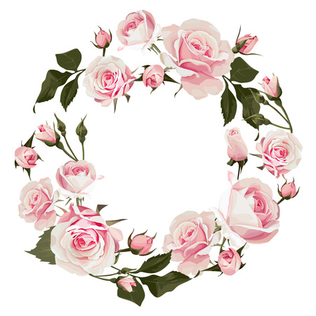 Vector floral wreath with roses. Flowered frame with pink flowers for wedding day or st. valentines days