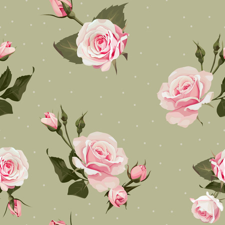 Vector floral seamless pattern with pink rose flowers on polka dots olive backgrounds