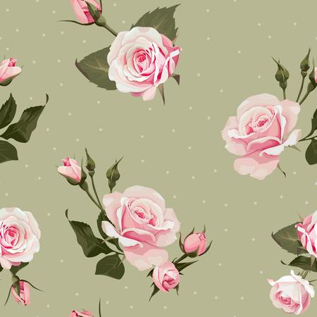 Vector nahtloses Blumenmuster mit rosa Rosenblüten auf olivgrünen Hintergründen der Tupfen Vektorgrafik