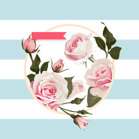 Vector floral circle shape frame with pink roses on blue striped backgrounds