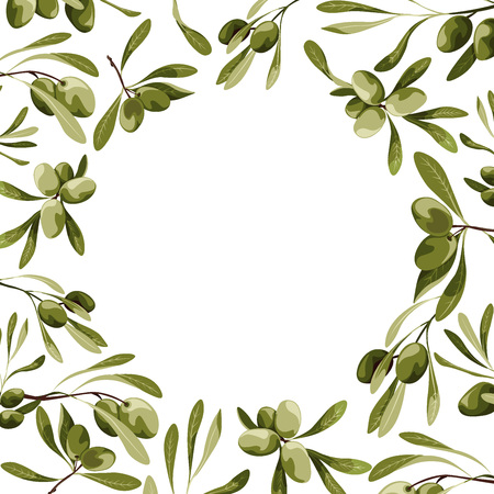 Vector circle frame with olive tree decoration. Vegan food illustrations