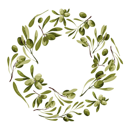Vector wreath with olive tree Nature frame with vegetables with leaves