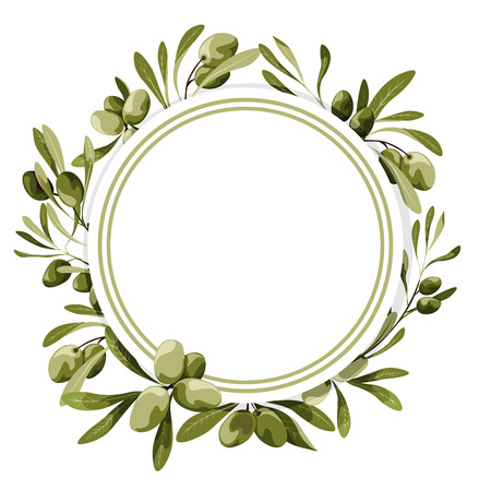 Vector circle label with olive tree decoration. Vegan food illustrations