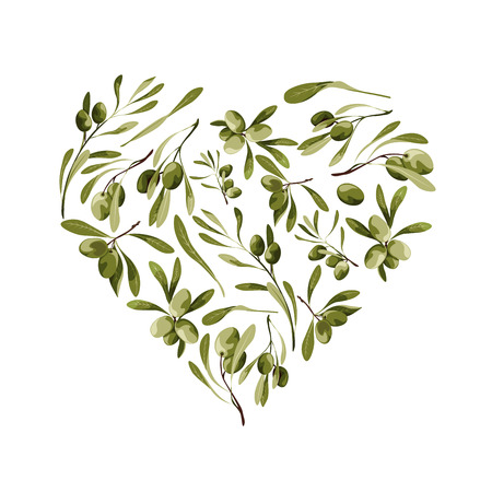 Vector garden heart shape background with olive tree for st. valentines day with love symbol