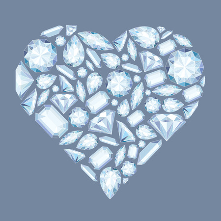Vector heart shape with diamonds and crystals pastel color background with bright gemstone for st valentines day