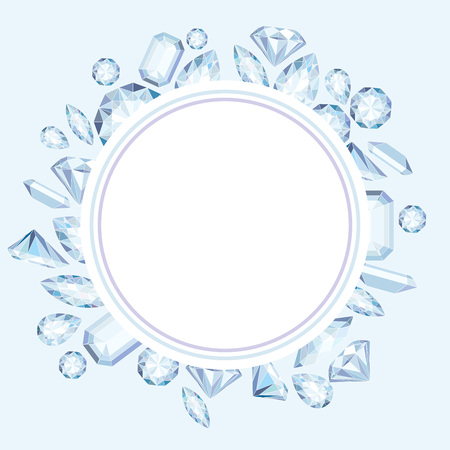 Vector circle label with diamonds and crystals pastel color background with bright gem stone Çizim