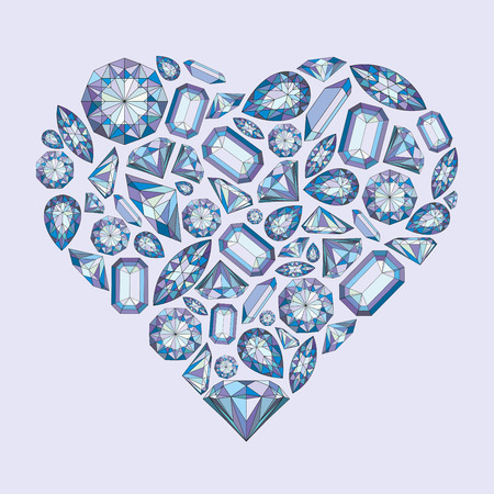 Vector heart shape with diamonds and crystals colorful background with violet gem stone for st valentines day Çizim