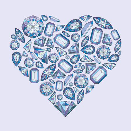 Vector heart shape with diamonds and crystals colorful background with violet gem for st valentines day