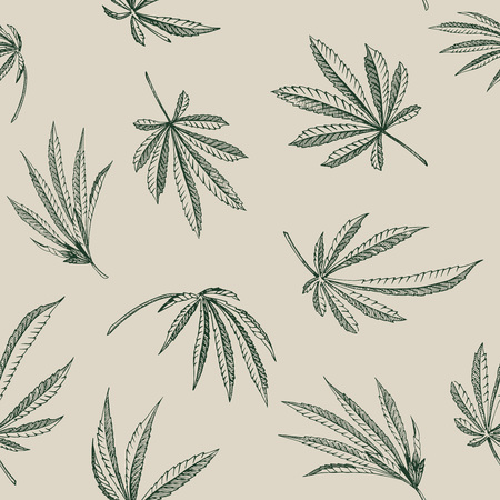Vector outline Seamless patterns of hemp plant on a beige background cannabis texture Çizim