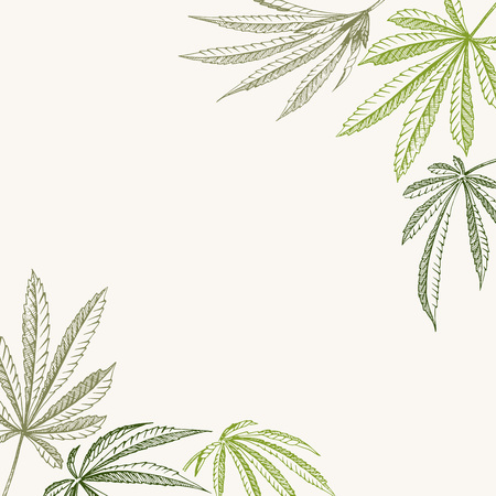 Vector outline corner backgrounds of hemp plant on a beige square cannabis texture