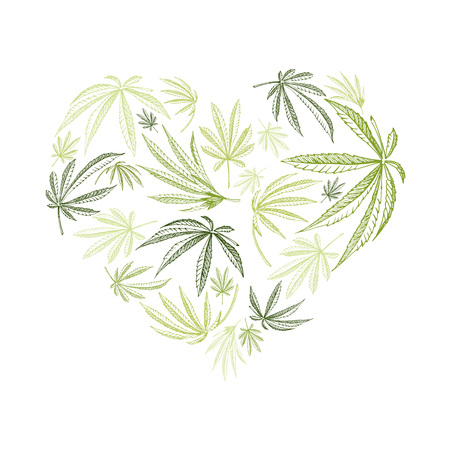Vector heart shape of hemp plant and cannabis leaves for st. valentines days