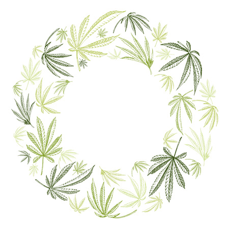 Vector wreath of hemp plant cannabis leaves on a white backgrounds Çizim