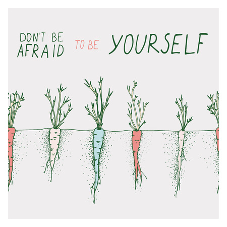 Greeting cards with carrot and motivation phrase do not be afraid to be yourself on a bright backgrounds  イラスト・ベクター素材