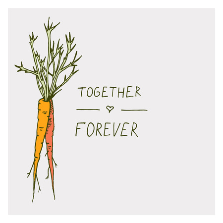 Greeting cards with carrot and motivation phrase together forever on a bright backgrounds