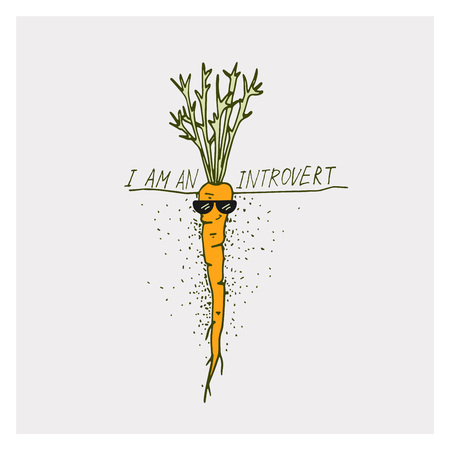 Greeting cards with carrot and motivation phrase I am an introvert on a bright backgrounds