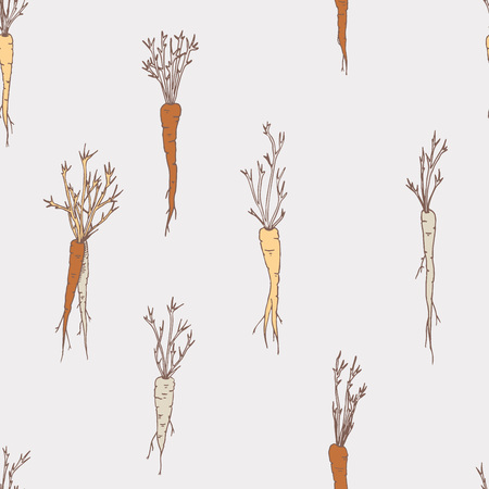 Vector seamless pattern with carrots and vegetables grey background with foods
