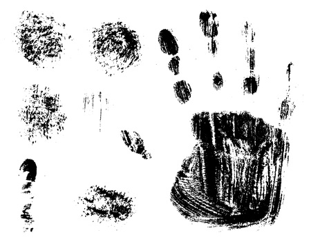 Vector textured hand spots for grunge and abstract backgrounds