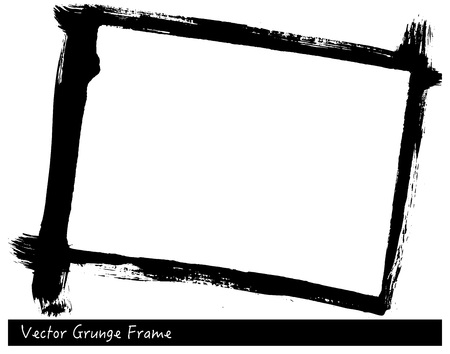 Vector Grunge rectangle frame with brush stroke texture hand drawn backgrounds