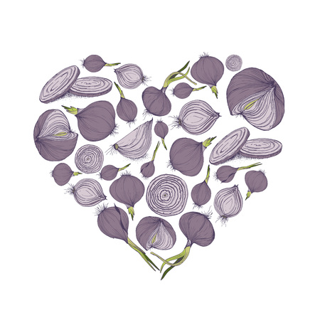 Vector illustration of heart shape with onions for greeting card or social media background and templates Çizim