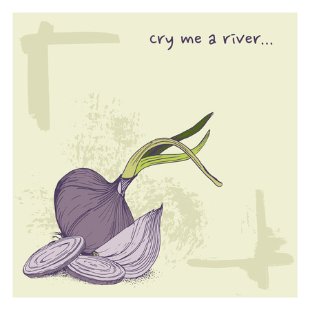 Vector greeting card with onions and phrase cry me a river funny background with vegetables
