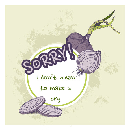 Vector greeting card with onions and phrase sorry funny background with vegetables Çizim