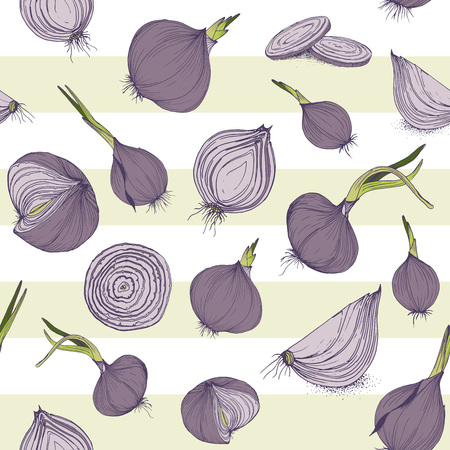 Vector seamless pattern with onions vegetable textile print garden texture for backgrounds