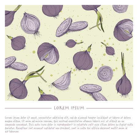 Background with onions social media template with lilac vegetable Çizim