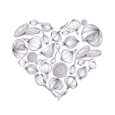 Vector illustration of heart shape with onions for greeting card or social media background and template