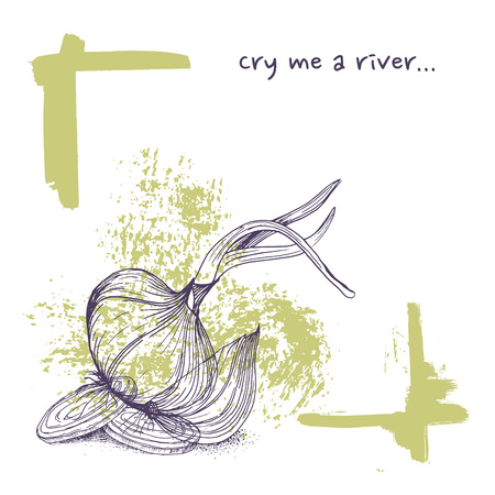 Vector greeting card with transparent onions and phrase cry me a river funny background with vegetables Çizim