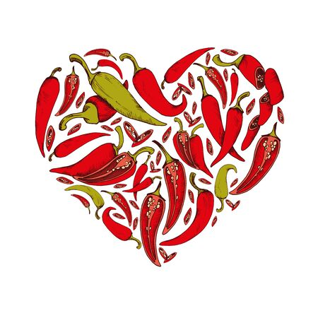 Vector background with chili pepper illustration Hand drawn heart shape food image Иллюстрация