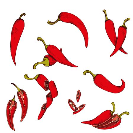 Vector clip art set of chili pepper. isolated Red vegetables on white background Иллюстрация