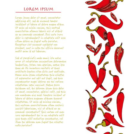 Food background with colorful chili peppers vegetable Hand drawn vertical social media template