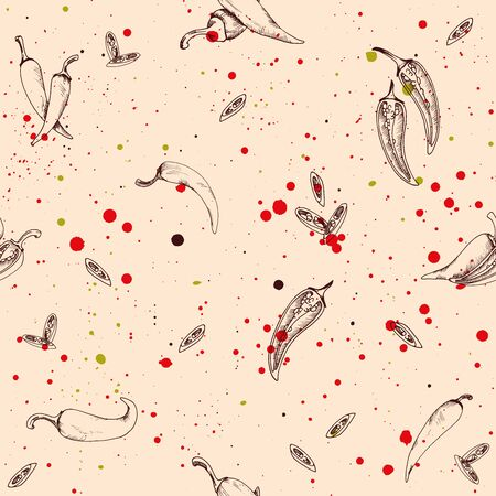 Seamless pattern with chili peppers food and vegetable on a grunge  with splashes Иллюстрация