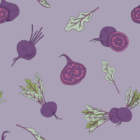 Seamless food pattern with beet root vegetables on a purple background