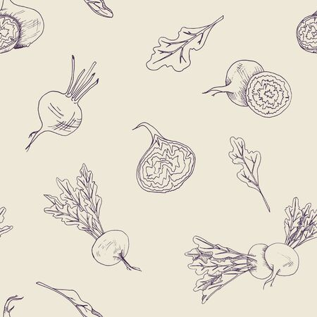 Seamless food pattern with beet root vegetables on a yellow background