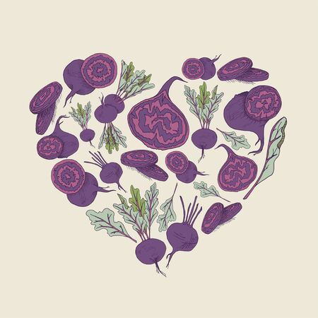 Vector background with beetroot  illustration Hand drawn heart shape food image