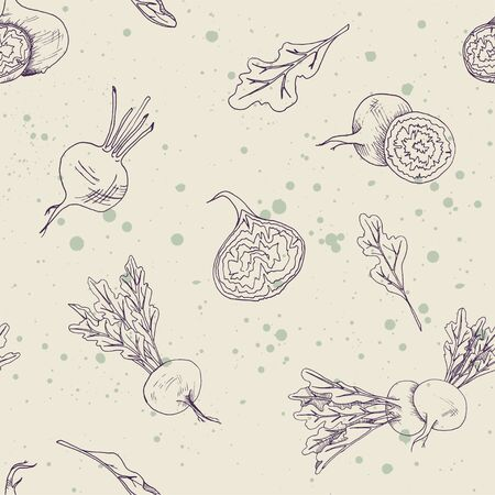 Seamless food pattern with beet root vegetables on a ivory background with splashes