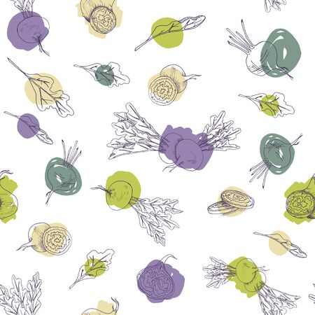 Vector seamless pattern with beetroot food and vegetables on a white background with colorful brush strokes Vectores