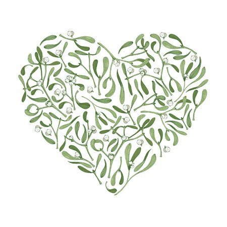 Vector christmas heart shape background with mistletoe plants for greeting card with love symbol on white background